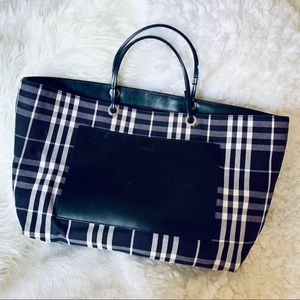 Burberry London Plaid Nylon and Leather Tote Navy